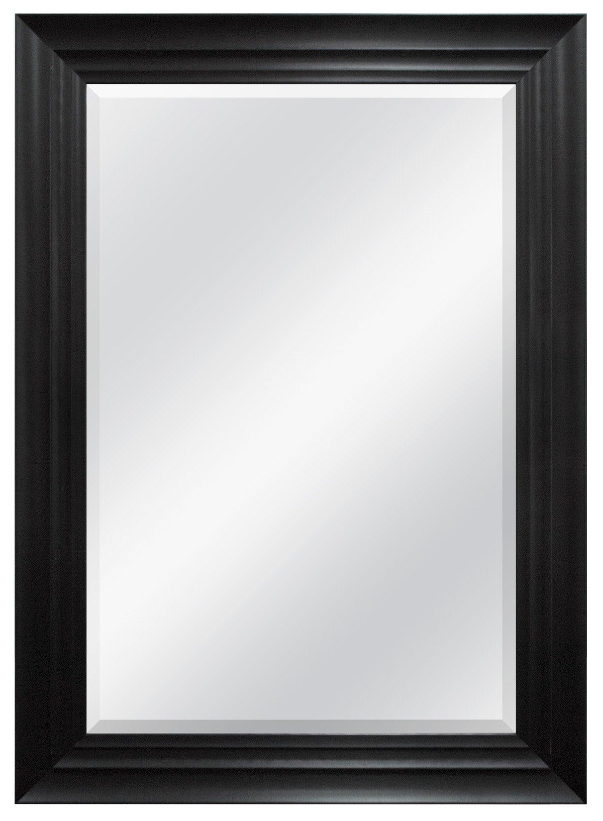 MCS 24x36 Inch Ridged Wall Mirror, 32x44 Inch Overall Size, Black (47699)