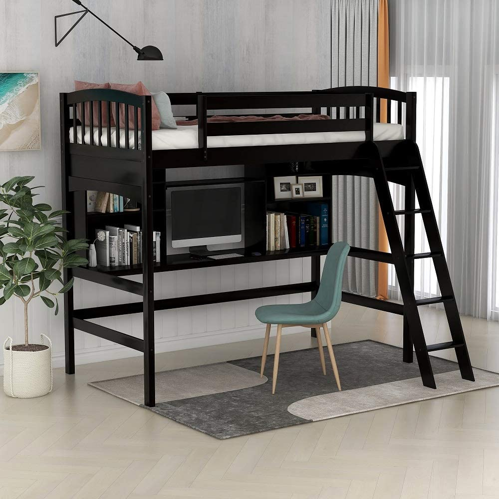 Amazon Com Rhomtree Twin Wood Loft Bed With Desk Shelves And Ladder Storage Bed Frame For Teens Boys Girls Bedroom Dorm Dark Espresso Furniture Decor
