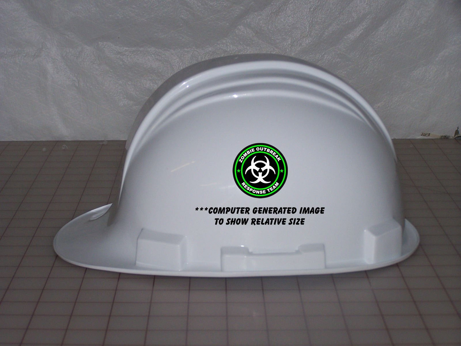 "3 - Zombie Outbreak Response Team Green Hard Hat/Helmet Stickers 1 1/2"" H125"
