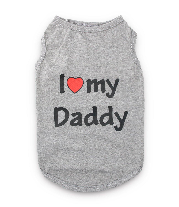 io vogio Bene al Mio pap/à 5.5-8.8lb DroolingDog io Amo mia Mamma pap/à Abbigliamento Shirt Cani per i Piccoli Cani Medium