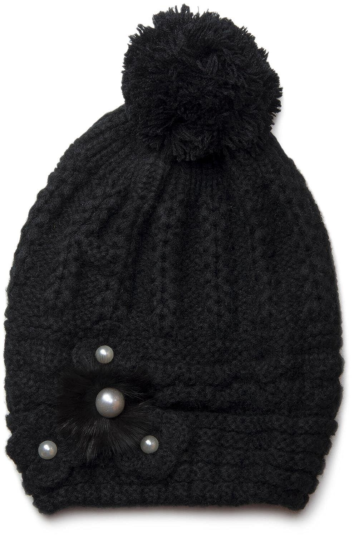 styleBREAKER Damen Winter Strickmütze mit Perlenapplikation und Bommel, long Beanie 04024013