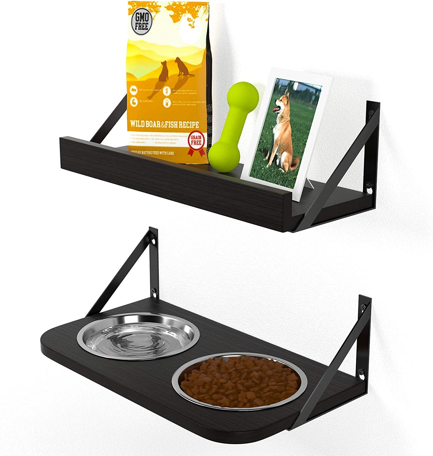 BUYBAR Adjustable Raised Dog Bowls for Large Dogs Food and Water Height Wall Mounted Floating with Stand Shelf 2 Stainless Steel Elevated Pet Comfort Cat Feeding Bowl (Double, Black)