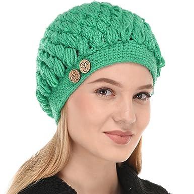 VR Designers Women Woollen Handknitted Crochet Cap (Emrald Green ... 63a2b20e76b