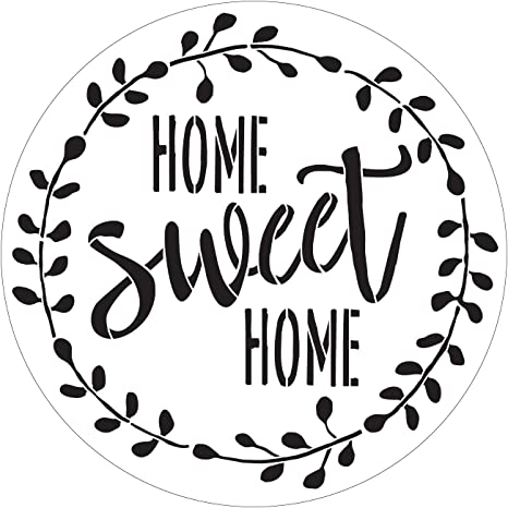 SVG Digital Cutting File to create Home Sweet Home with Wreath REUSABLE stencil
