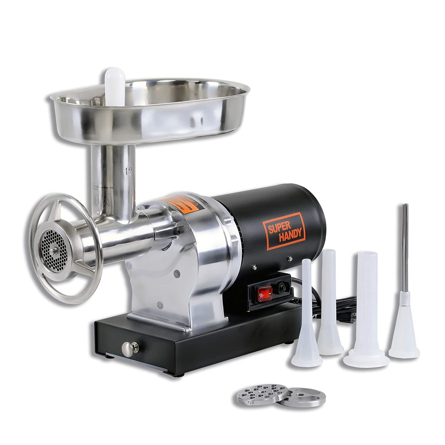 SuperHandy Stainless Steel #12 3/4 HP Electric Meat Grinder Mincer Sausage Stuffer 720lbs Per Hour Heavy Duty Commercial Kitchen SS Blade, Pan, Grinding Plates & Stuffing Tubes, Stomper, Storage Box