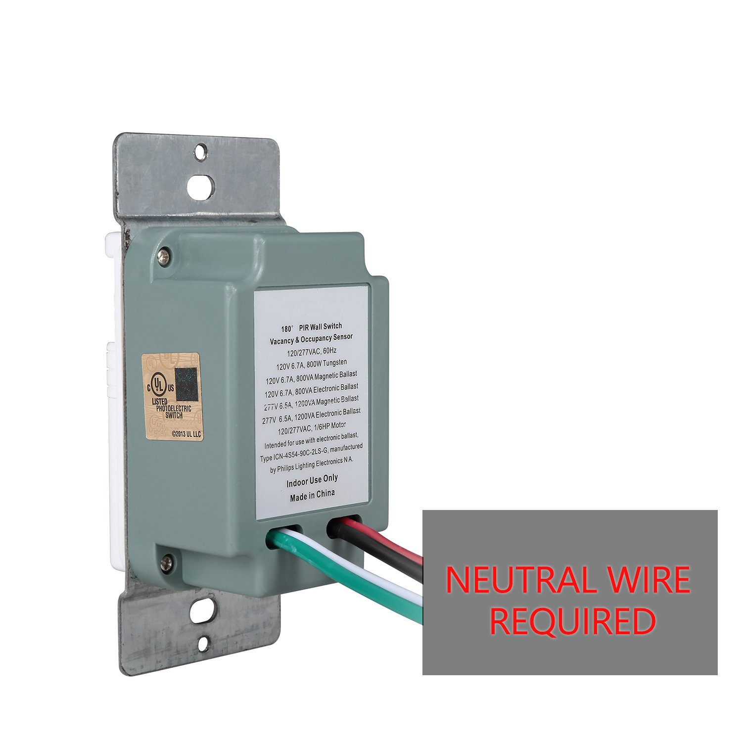 Pack of 2) White Motion Sensor Light Switch ? NEUTRAL Wire Required ...