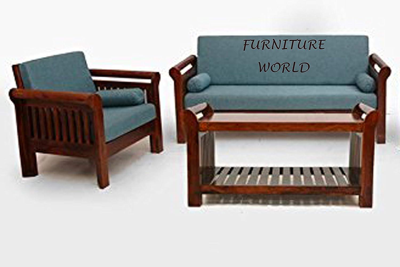 Furniture World Solid Sheesham Wood Sofa Set With Cream Cushions