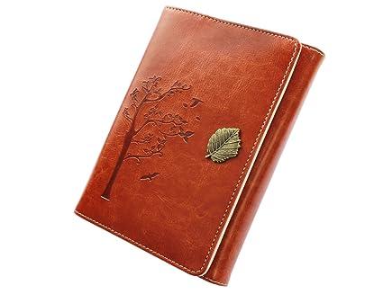 VALERY Cuaderno de notas A6 de cuero PU (piel sintética) I Diario de viaje con hojas intercambiables I Diario Vintage para escribir I 100 hojas y 200 ...