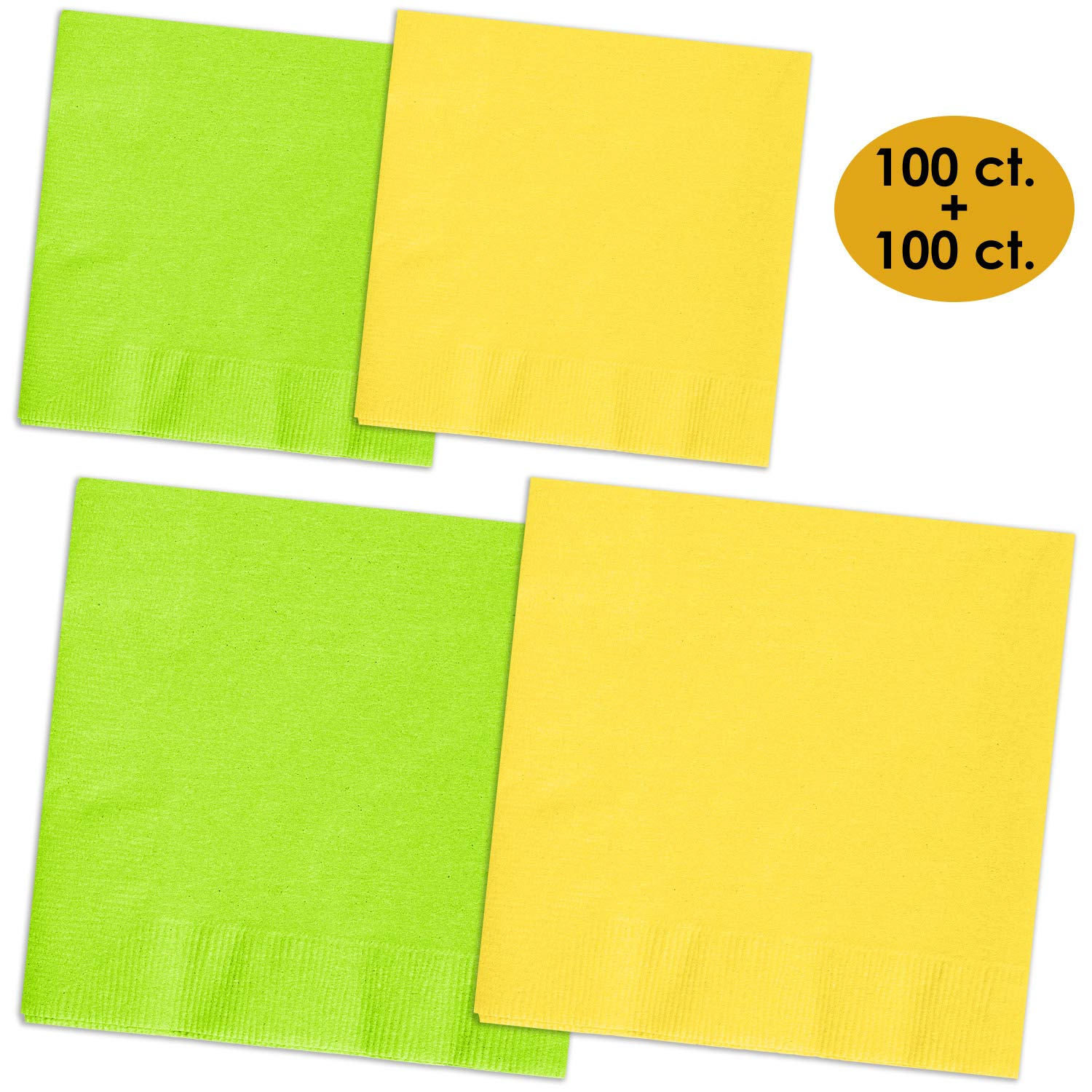 200 Napkins - Lime Green & Lemon Yellow - 100 Beverage Napkins + 100 Luncheon Napkins, 2-Ply, 50 Per Color Per Type