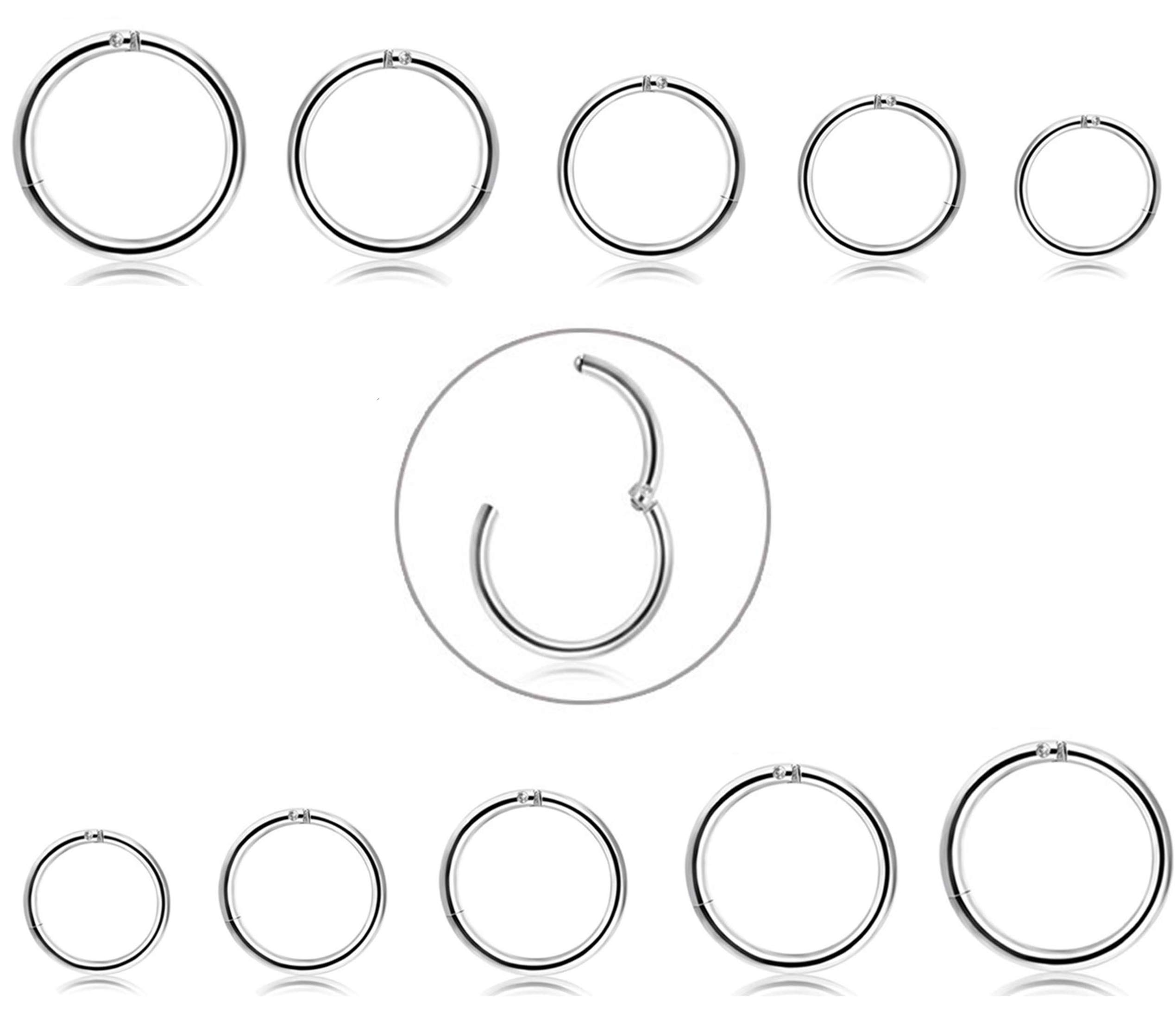 FIBO STEEL 10Pcs 6-14mm Stainless Steel 16g Cartilage Hoop Earrings for Men Women Nose Ring Helix Septum Couch Daith Lip Tragus Piercing Jewelry Set Silver-Tone