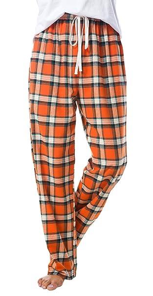 EEVASS Mujer Pijama Verano Pantalones de Dormir 100% Algodón (M, Naranja)
