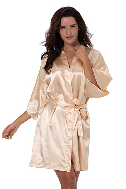 79e6a45c15 ShinyLuck Women s Satin Short Kimono Robe Solid Color Dressing Gown Bridal  Party Robe (Small