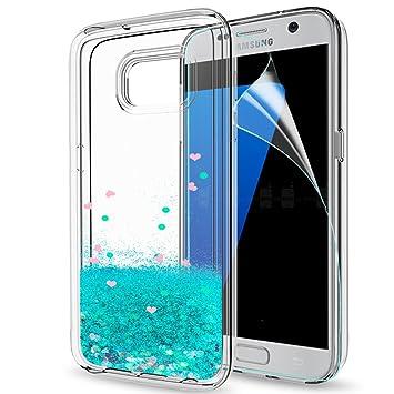 LeYi Compatible con Funda Samsung Galaxy S7 Edge Silicona Purpurina Carcasa con HD Protectores de Pantalla,Transparente Cristal Bumper Telefono Gel ...