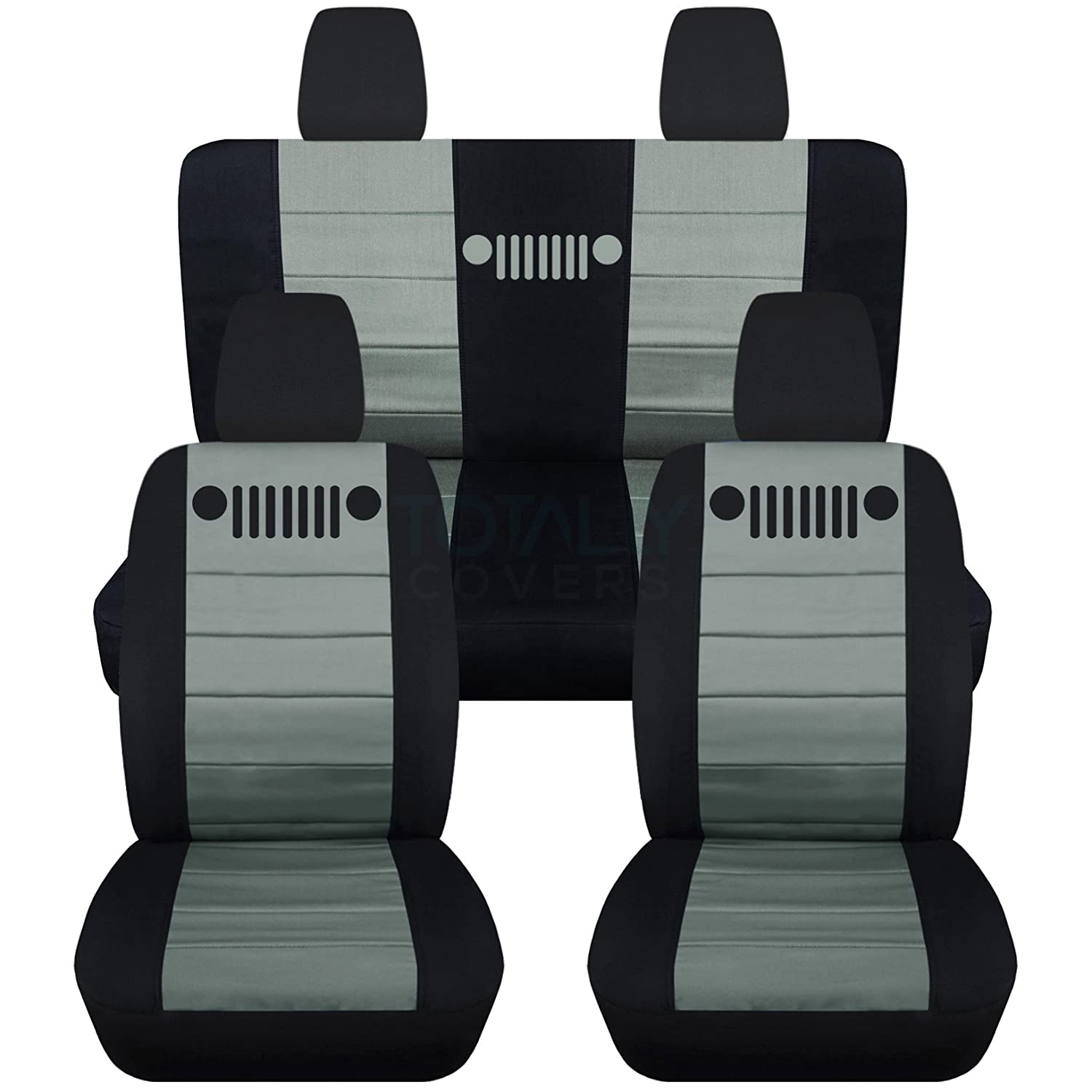 Admirable Totally Covers Fits 2011 2018 Jeep Wrangler Jk Seat Covers Black Silver Full Set Front Rear 23 Colors 2012 2013 2014 2015 2016 2017 Machost Co Dining Chair Design Ideas Machostcouk