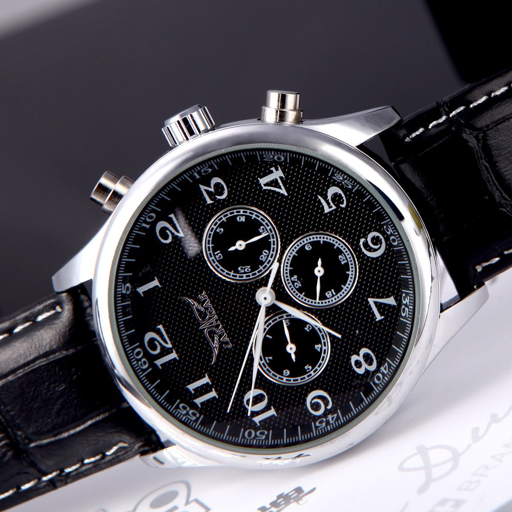 RavTech(TM)Black White Jaragar Automatic Mechanical Analog Black Dial 6 Hands Men Watches Sport Leather Wristwatches 12/24 Hours Display - - Amazon.com