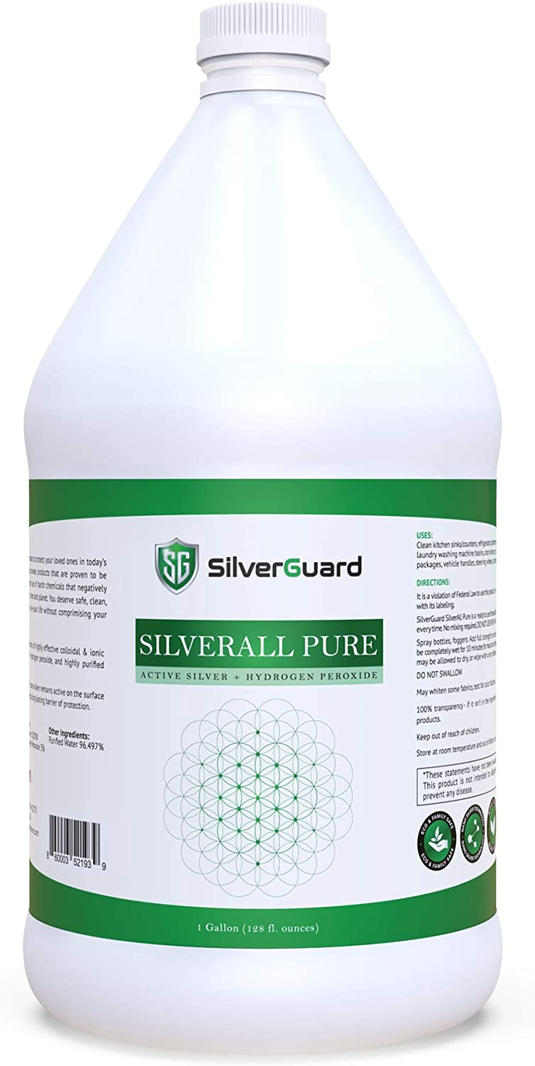 SilverAll Pure | Enhanced Hydrogen Peroxide Cleaner + Active Silver | Silver Hydrogen Peroxide Gallon Size | Food Grade Hydrogen Peroxide Gallon | Silver Shield Natural Household Cleaner