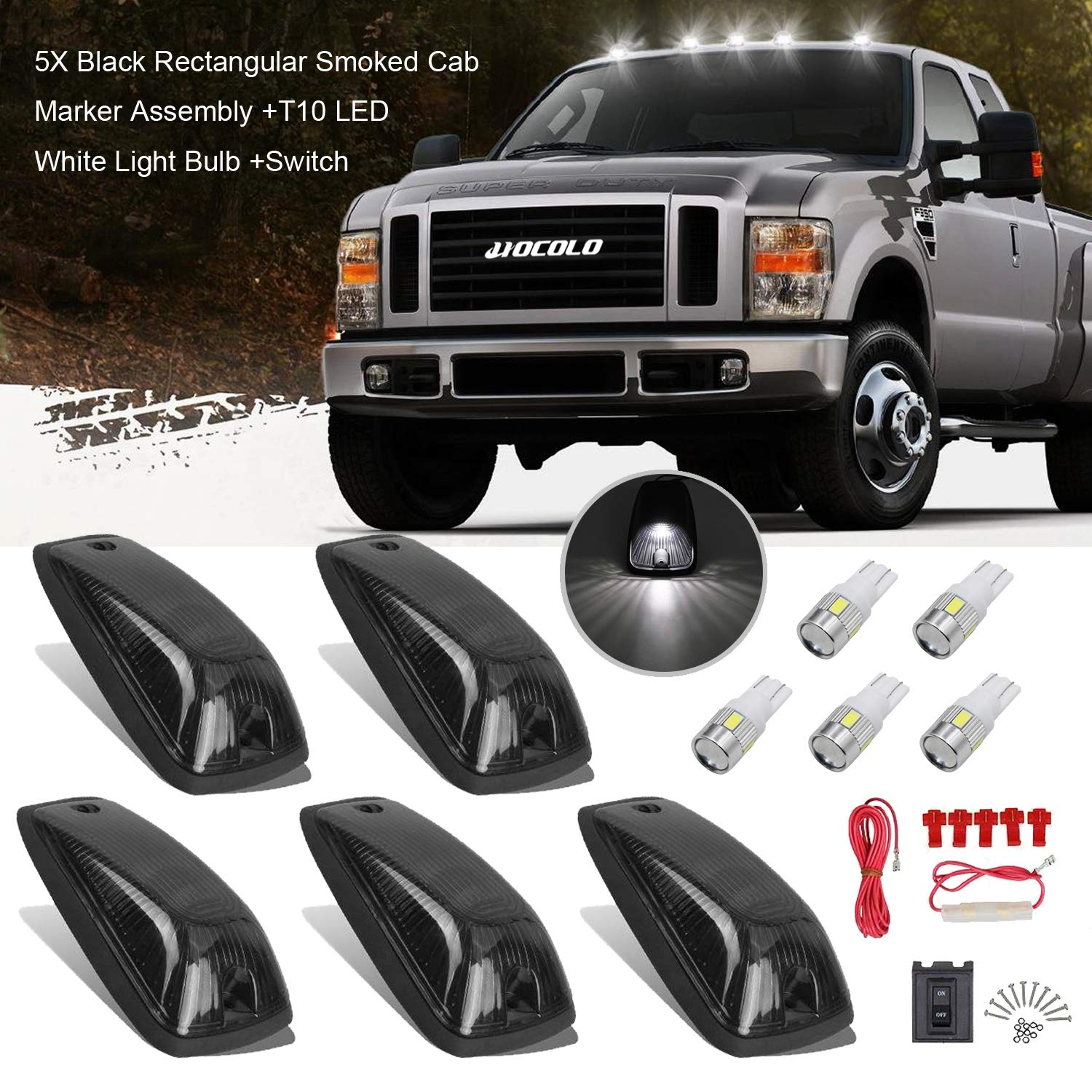 HOCOLO Roof Running Light Cover Base Switch for 1988-2002 GMC Chevy C1500 C2500 C3500 K1500 K2500 K3500 Pickup Rectangular Smoked Cab Marker Assembly + T10 LED, T10 B 5 Set Black Smoked Cab Maker Blue Light Assembly Blue T10 LED Light Bulbs Replacement