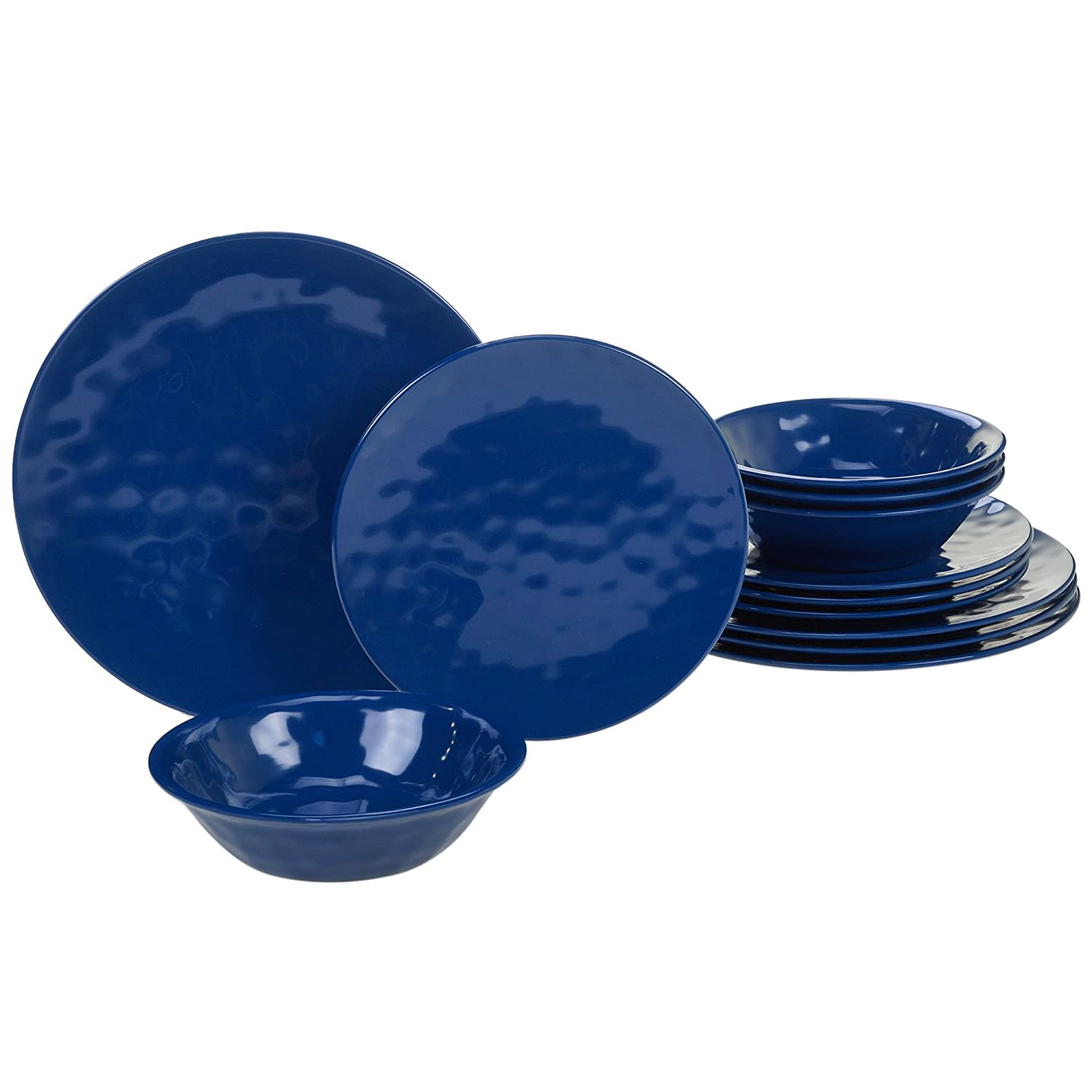 Certified International 89211RM Melamine 12 pc Dinnerware Set, Service for 4, Cobalt Blue