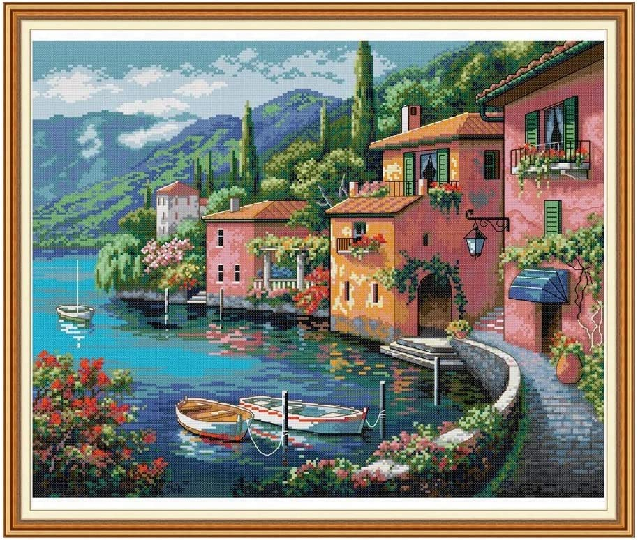HUANGRONG Punto Croce da Ricamare Kit Colorful casa By The Water Croce Kit 14ct 11ct Conte Stampa su Tela Croce Stitches Needlework Ricamo Fai da Te handma