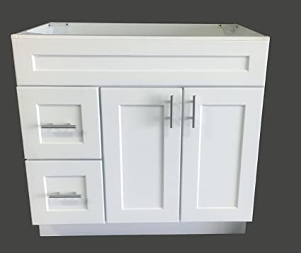 White Shaker Single Sink Bathroom Vanity Base Cabinet 36u0026quot; Wide X  21u0026quot; ...