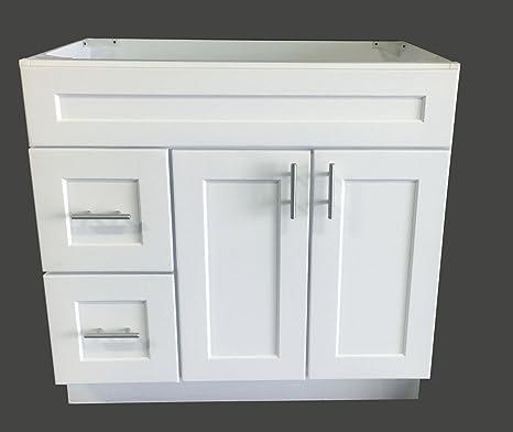 Bathroom Vanity Base Cabinets.White Shaker Single Sink Bathroom Vanity Base Cabinet 36