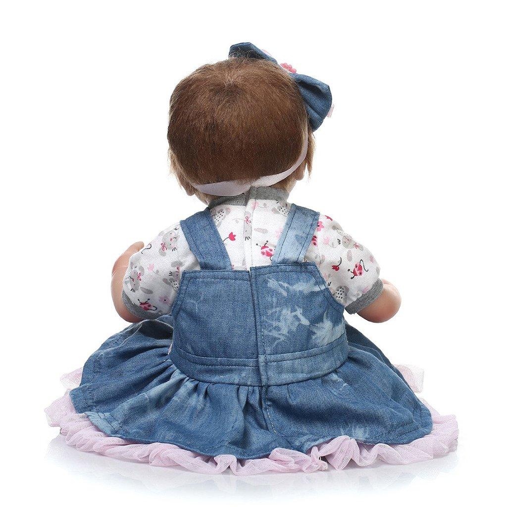 Nicery Reborn Baby Doll souple Simulation Silicone Vinyle 45,7 cm 42–45 cm enfant ami magnétique Bouche réaliste jouet garçon fille Yeux ouverts avec ...