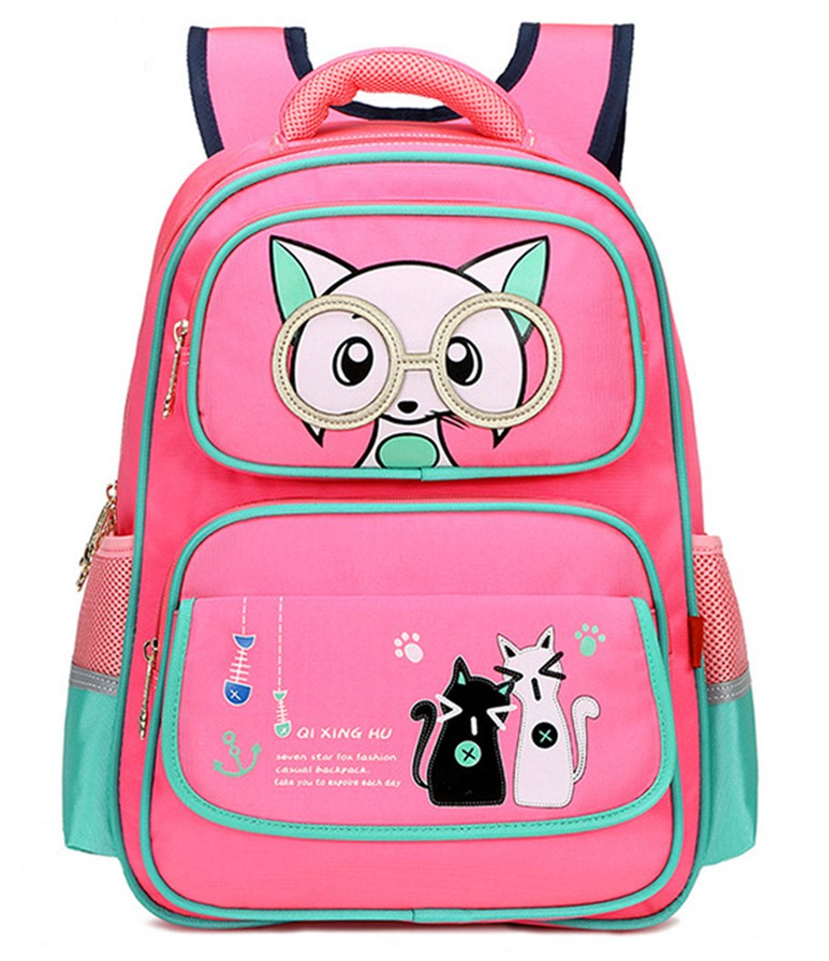 Girl Cat Backpack Child Cute Animal School Bag Bookbag Waterproof Casual Daypack (Pink)