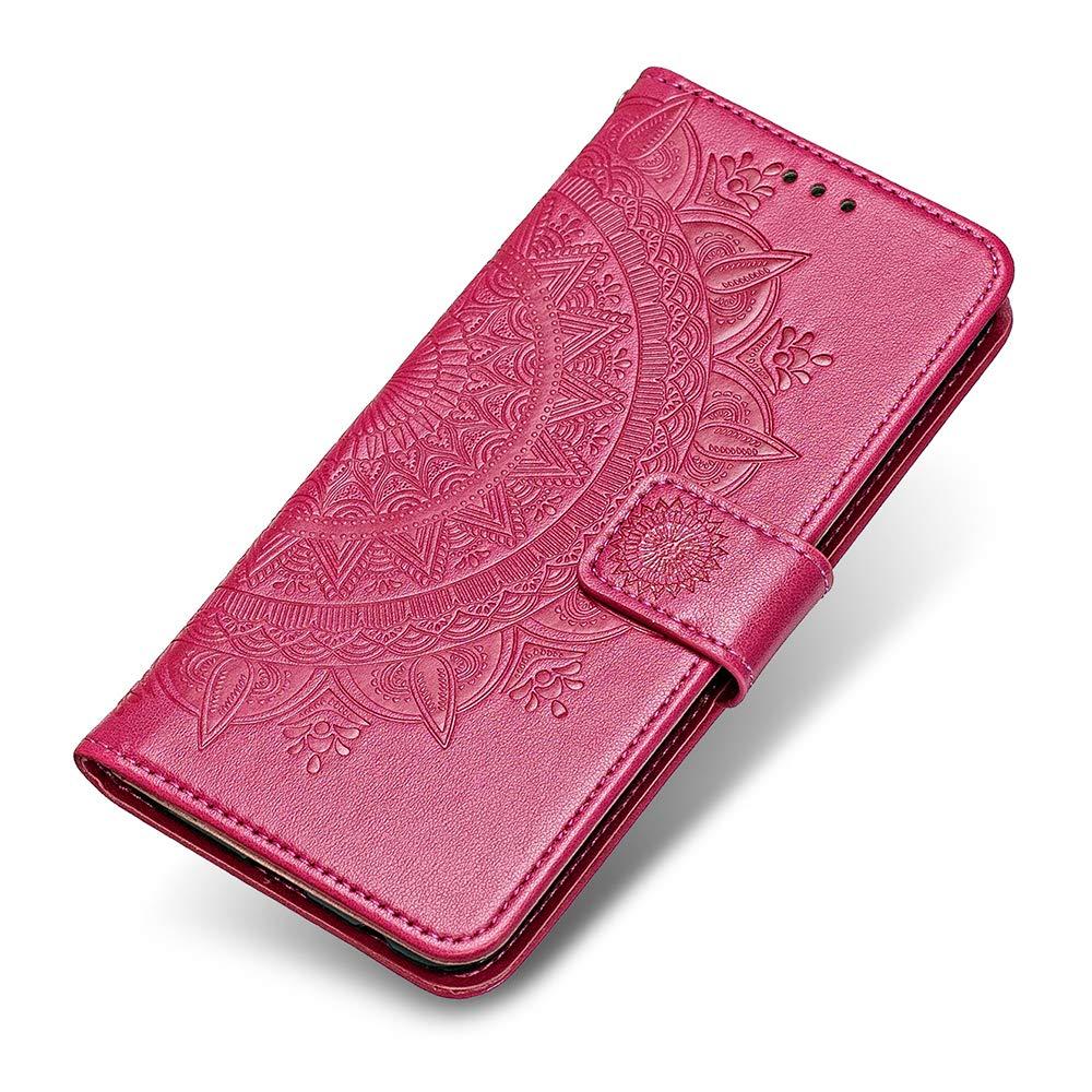 Coque Huawei Honor 7C, The Grafu® Étui en Cuir PU, Intérieur en TPU Antichoc, Magnetic Housse avec Fonction de Support pour Huawei Honor 7C, Rose Rouge