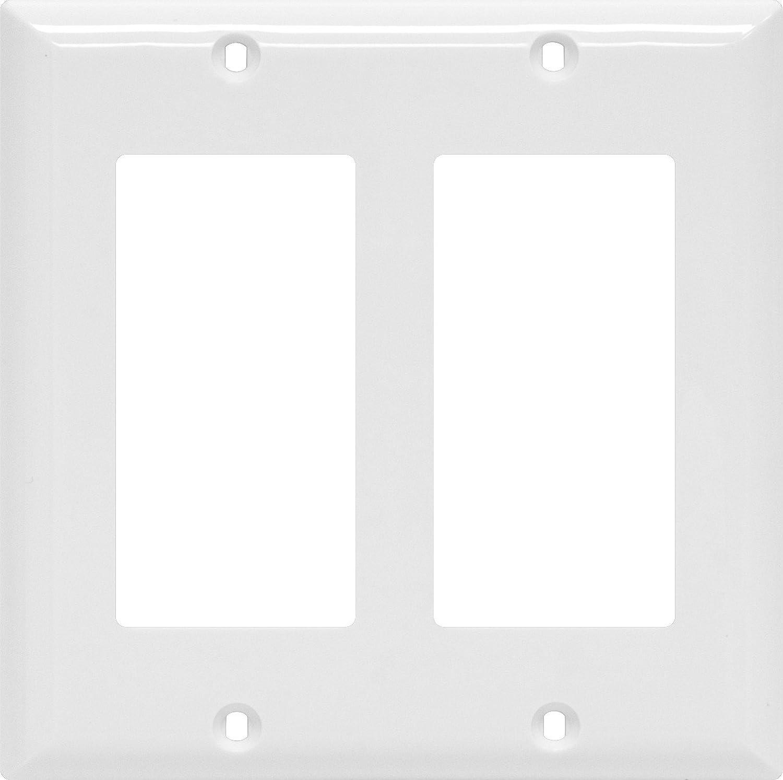 Power Gear Double Rocker Switch Wallplate, White, Unbreakable Nylon, Screws Included, UL Listed, 40023