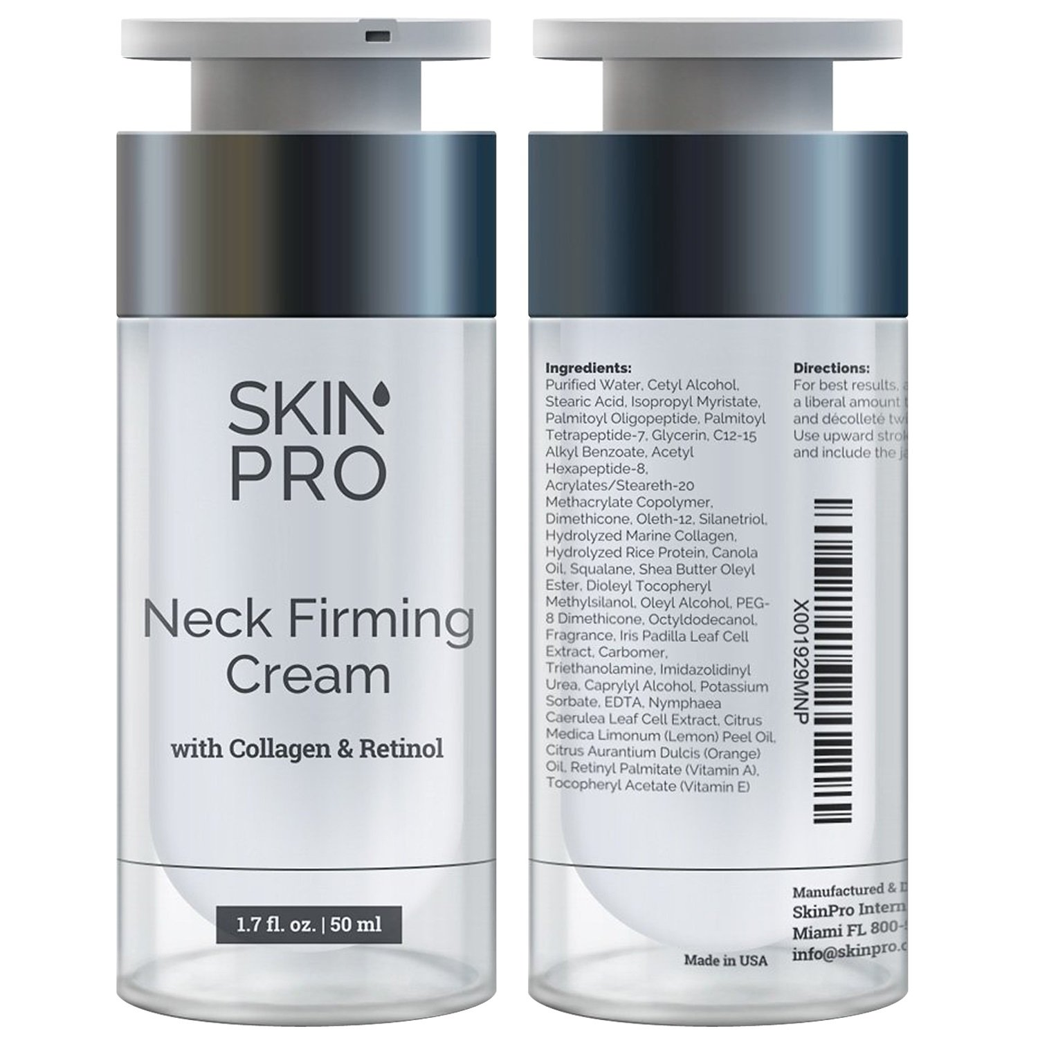 Neck Firming Cream - Anti Aging & Skin Tightening Serum by SkinPro - Age Defying - Made with Marine Collagen & Peptides - Contains Vitamin A & Retinol for Firm Skin - Paraben Free by SkinPro
