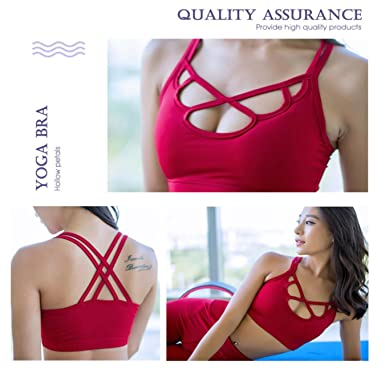 sdUSTxLh Women Cross Breathable Quick Dry Petals Fitness Running Sexy Hollow Sports Bra Top at Amazon Womens Clothing store:
