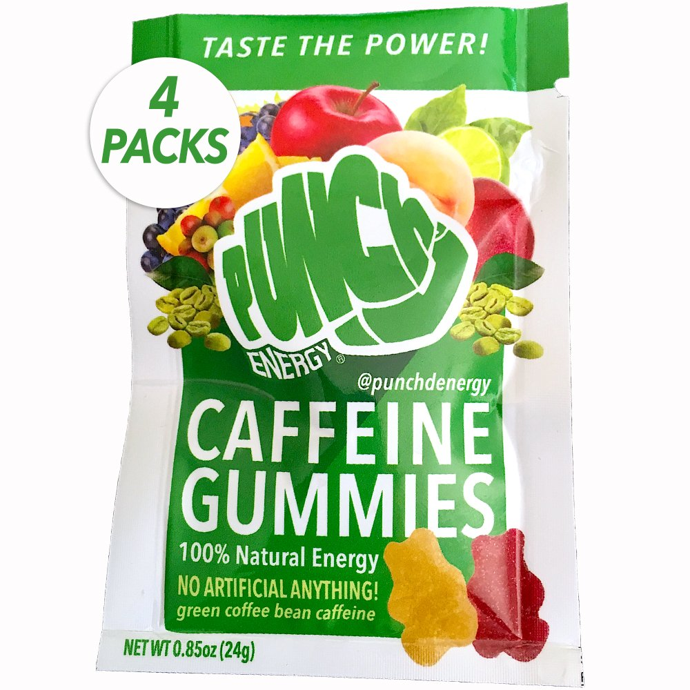 4-PACK Punch'd Natural Energy Caffeine Gummies: Premium Strong Green Coffee Bean Caffeine, Real Superfruit w/Vitamin C, Low Cal, Low Carb, Low Glycemic, Grab 'n Go Coffee