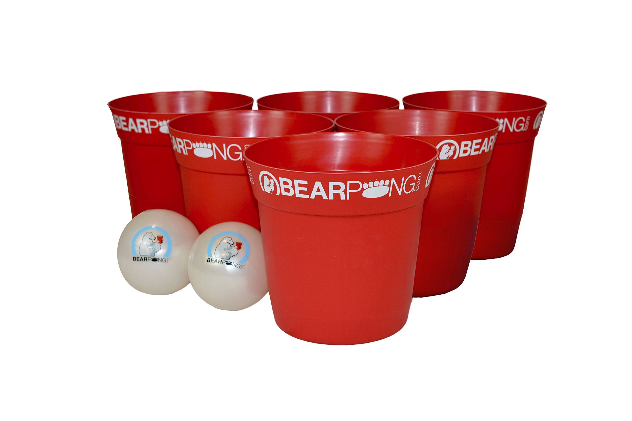 Bearpong Red Bearpong Game Set: 12 BEARPONG Red Buckets, 2 BEARPONG Balls with Carrying Case, and instructions