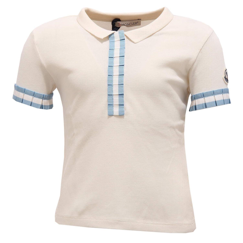 MONCLER 7137Y Polo Girl Bimba Maglia Polo t-Shirt White/Light Blue ...