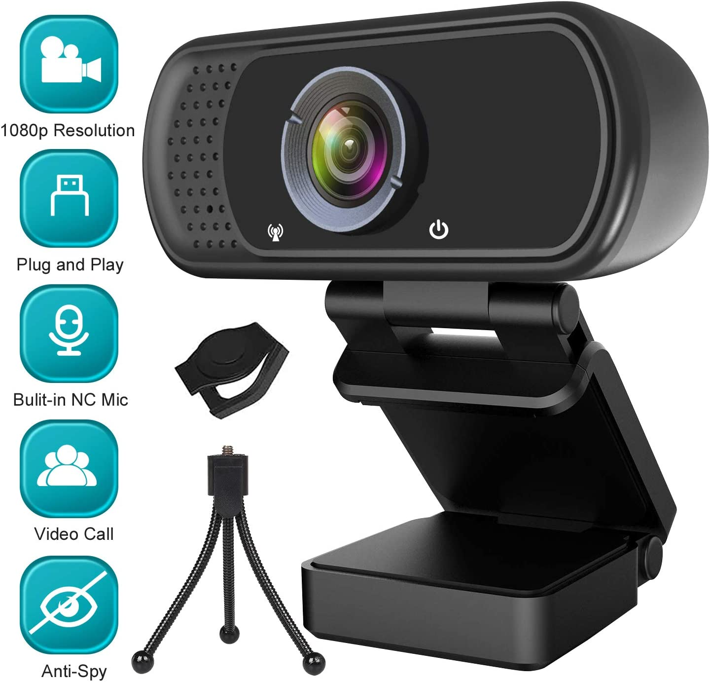 1080P Webcam Web Camera with Microphone, HD Webcam Computer Cam with Cover and Stand, Plug & Play Webcam for PC Laptop Desktop Smart TV Video Streaming, Gaming, Conference, Online Classes Zoom Skype