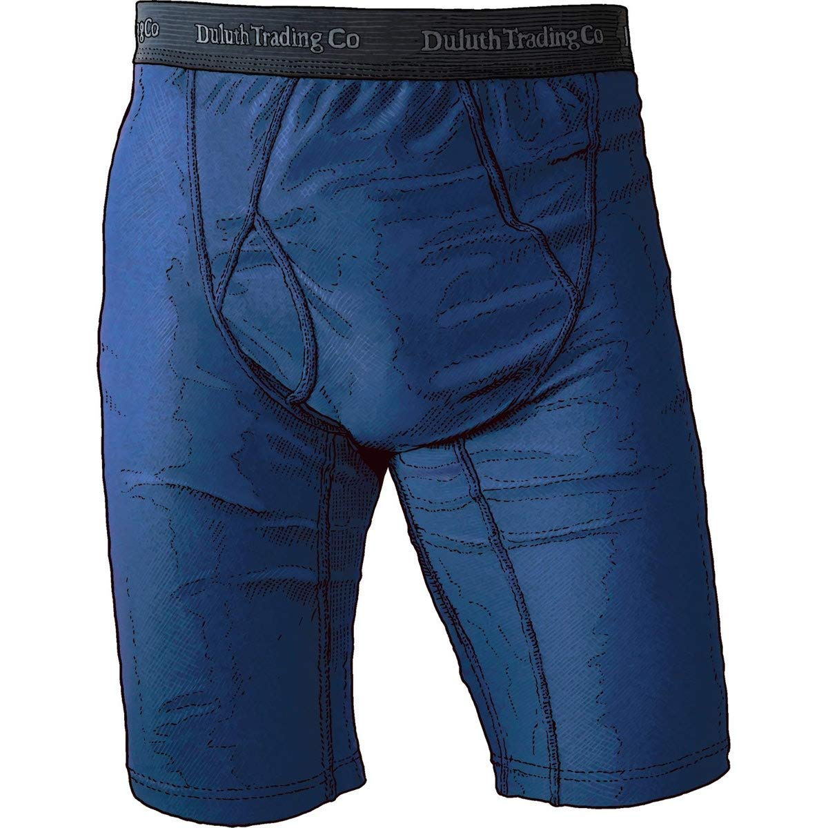 Duluth Trading Company Men's Extra Long Buck Naked Boxer Briefs (Many  Colors) (M, Blue)