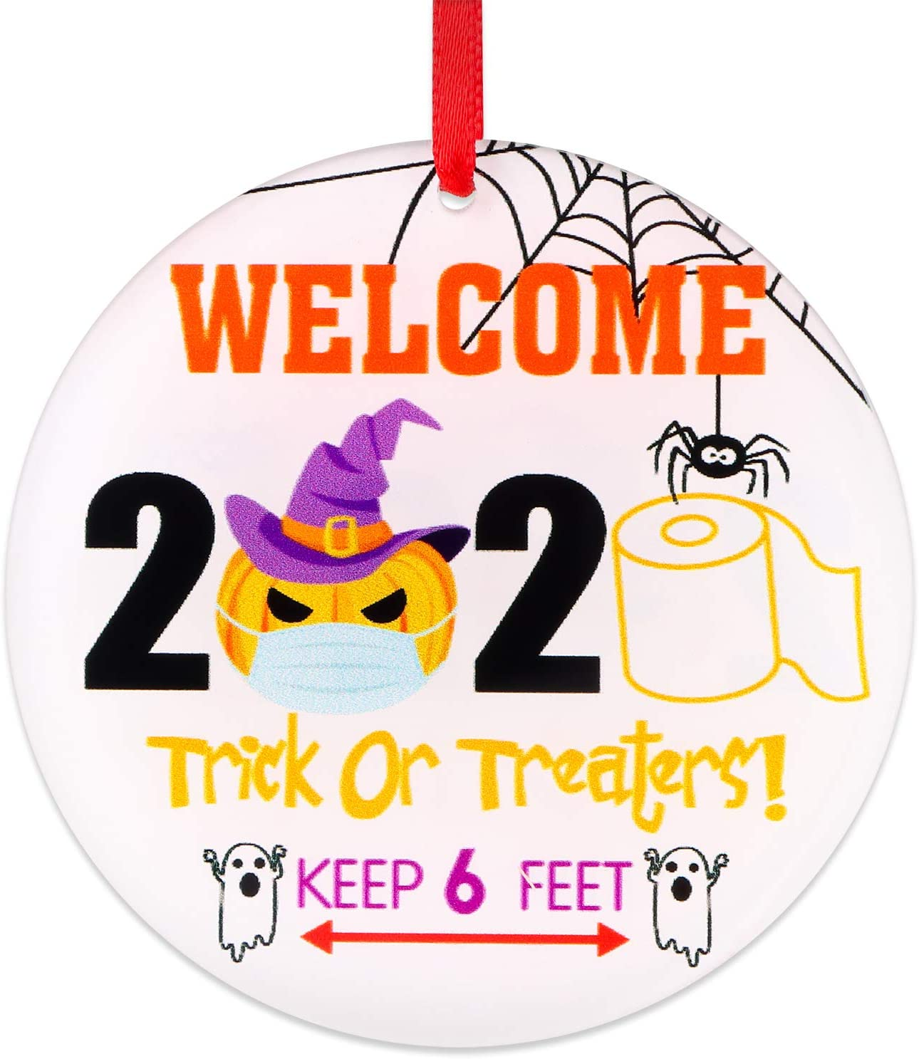 """FaCraft Halloween Quarantine Ornaments,3"""" Welcome Trick Or Treaters Christmas Ornaments Gift,Halloween Pumpkin with Wear a Face Mask Ornaments for Tree Decorations,Halloween Party Decor"""