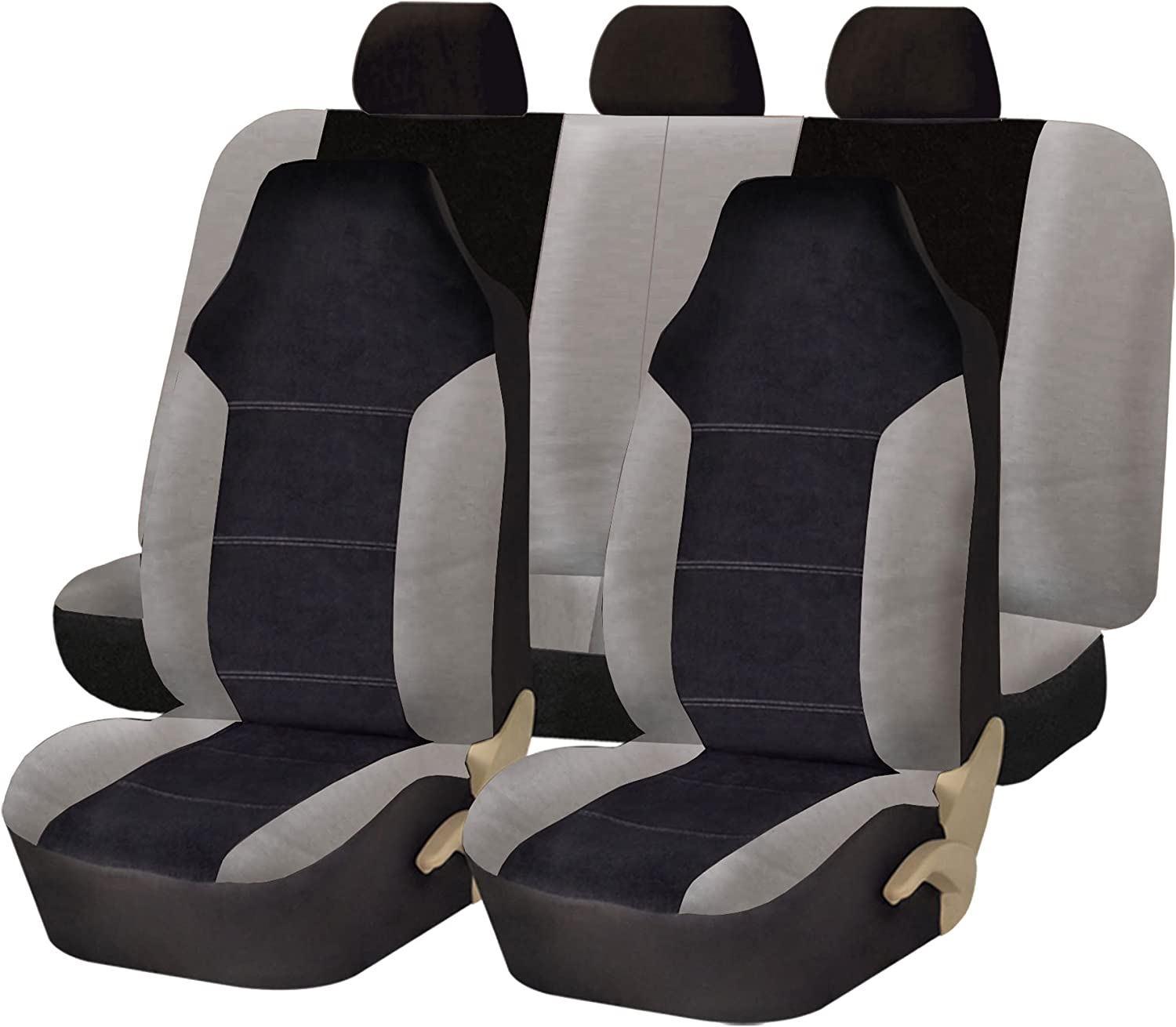 FH Group FB103115 Leather/Velour Seat Covers (Airbag Compatible & Split Rear Bench) Gray/Black w Fit Most Car, Truck, SUV, or Van