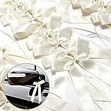 50 fiocchi per antenna auto, color panna, decorazione matrimonio