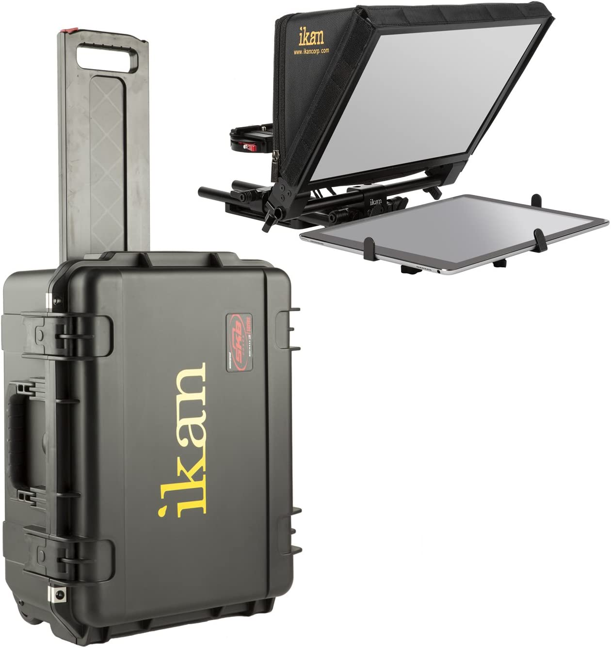 Ikan Elite Universal Large Tablet Teleprompter for Surface Pro & Ipad Pro, Beam Splitter 70/30 Glass, w/Rolling Case (PT-Elite-PRO-TK) - Black