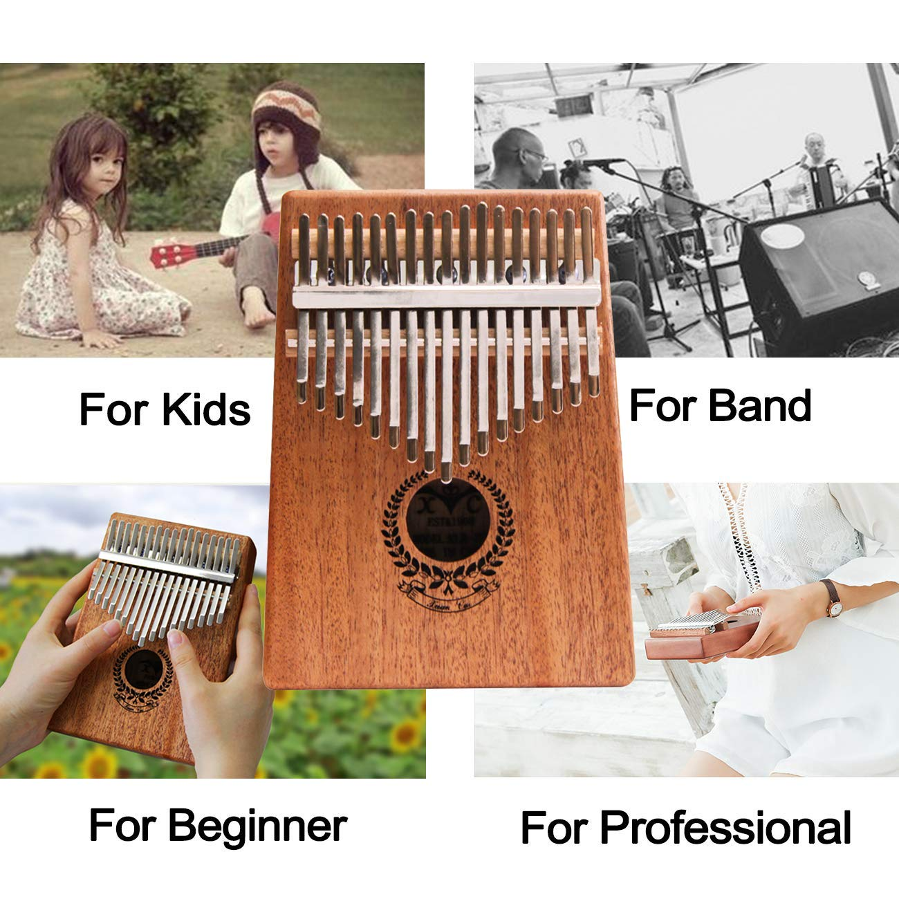 Kalimba 17 Keys Thumb Piano builts-in EVA high-performance protective box, tuning hammer and study instruction best gift For Kids Without Any Musical Basis Or Musician by Higohome (Image #7)
