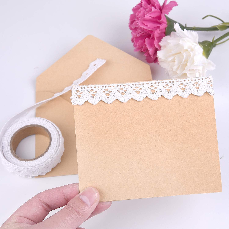 TUPARKA Cinta de encaje blanco Cinta de encaje autoadhesiva Cinta de encaje de algod/ón Adorno de encaje Libro de recuerdos Cinta de fabricaci/ón de tarjetas Suministros
