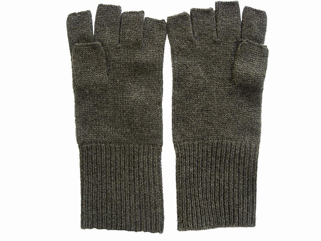 Chocolate Brown Pure 100% Cashmere Fingerless Half Finger Wrist Gloves