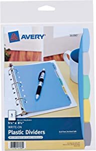 Avery 5-Tab Plastic Mini Binder Dividers, Write & Erase Multicolor Tabs, 1 Set (16180)