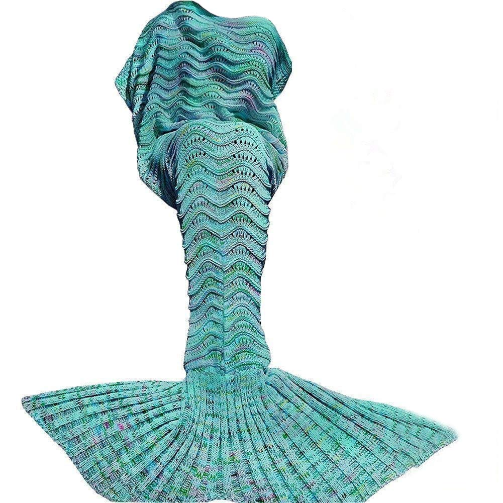 DDMY Mermaid Tail Blanket Crochet Mermaid Blankets Seasons Warm Soft Handmade Sleeping Bag Best Birthday Christmas gift For Kids Teens Adult 74''x35'' Mint Green by DDMY
