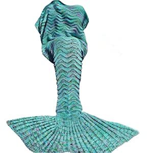 DDMY Mermaid Tail Blanket Crochet Mermaid Blankets Seasons Warm Soft Handmade Sleeping Bag Best Birthday for Kids Teens Adult 74''x35'' Mint Green