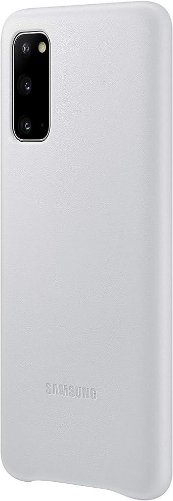 Samsung Leather Smartphone Cover Ef Vg980 Für Galaxy S20 S20 5g Handy Hülle Echtes Leder Schutz Case Stoßfest Premium Hellgrau Elektronik