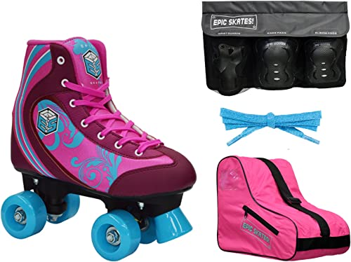 New Epic Cotton Candy Quad Roller Skate 4Pc. Bundle w Bag Safety Pads