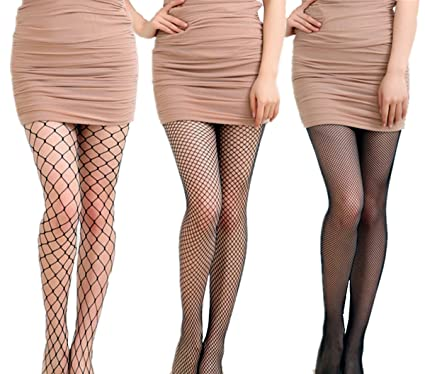 fba22bd6c Cmlvebl 3 Pairs Womens Fishnet Tights Fishnets Stockings Seamless Hollow  Out Net Pattern Pantyhose