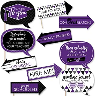 product image for Big Dot of Happiness Funny Purple Grad - Best is Yet to Come - Purple Graduation Party Photo Booth Props Kit - 10 Piece